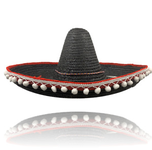 Mexican Sombrero Gringo Hat Black  Adult Fancy Dress Halloween Costume Hat