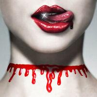 Halloween Blood Dripping Necklace Jewellry Choker Party Web Costume Fancy Dress