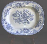 Antique 1891 Pheasant Staffordshire Blue White Ironstone Platter Transferware