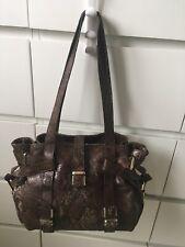 Lk Bennett Brown Snakeprint Leather Large Shoulder/shopper Bag - Vgc