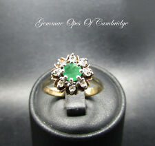 9ct Gold Emerald and Diamond Flowerhead Ring Size N 3.1g