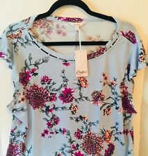 Candies Junior Womens Top XL Blue Floral Simulated Pearl Trim Flutter Sleeve NEW