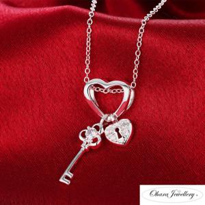 Sterling 925 Silver PL Cubic Zirconia CZ Heart Lock Key Chain Necklace Jewellery