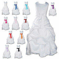 New Flower Girl Party Bridesmaid Pageant Dress 1-13 Year White+Sash in 14Colours