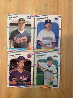 1988 FLEER ROOKIES (1 LOT, 4 CARDS) WILLIAMS, MARTINEZ, JEFFERIES, GLAVINE