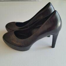 Rockport Adiprene Comfort Black Leather Platform Heels Shoes