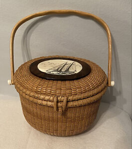 Schooner #22 Sailboat, Wood Woven Nantucket Basket Handbag Purse D. O. Hoyt