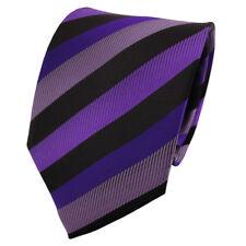 Schicke Krawatte lila dunkellila violett schwarz gestreift - Tie Binder