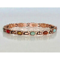 """7.25"""" COPPER HIGH POWER MAGNETIC BRACELET COLORED STONE W MAGNET EVERY LINK 5378"""