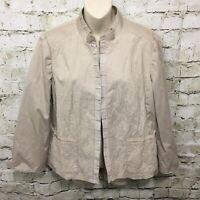 Chicos Womens Size 2 Large Beige Textured Mandarin Collar Blazer Jacket