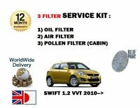 FOR SUZUKI SWIFT 1.2 VVT K12B 2010-> NEW OIL AIR POLLEN 3 FILTER SERVICE KIT