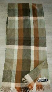 100% MERINO WOOL mens MUFFLER SCARF rust green brown PLAID 50 x 11 inch GERMANY