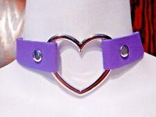 PASTEL PURPLE HEART RING COLLAR choker punk necklace veggie vinyl lavender 4B