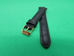 REPLACEMENT SEIKO  LEATHER  WATCH BAND BLACK 🖤 SIZE 18MM YELLOW BUCKLE