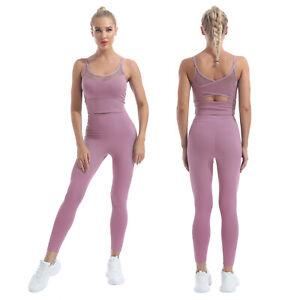 2Pcs Womens Long Pants Set Bra Tops Sport Outfits Gym Tracksuit Slim Sweatsuit