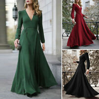 UK Womens Elegant Lace-Up Puff Sleeve Slim Long Maxi Party Dress Floor Length