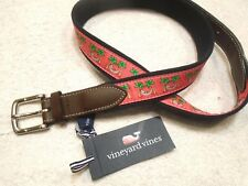 vineyard vines Santa Hammock Pattern Canvas Club Belt NWT size 36 $58