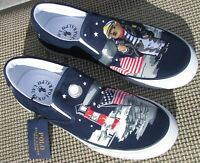 NWOB  Ralph Lauren Polo Bear & Flag sneakers, navy blue and white.  Size 10.5 D