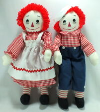 Raggedy Ann and Raggedy Andy Dolls Handmade Embroidered 18""