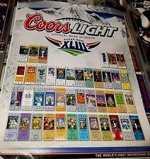 COORS LIGHT NFL SUPER BOWL TICKETS HISTORY POSTER SB XLIII