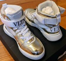 $895 Mens Valentino Garavani VLTN Strap High-Top Sneakers White/Gold 45 US 12