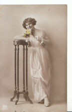 fGlamour Postcard - Young Lady Standing - Holding Rose - Real Photo - Ref ZZ5291