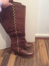 Gorgeous Brown Leather Knee High Boots French Connection Size 5