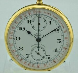 Hochwertiger Chronograph Tavannes 18Kt Gold, MEMENTO MORI, SAMMLERSTÜCK