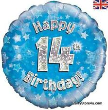 "18"" BLUE HOLOGRAPHIC FOIL BALLOON ""HAPPY 14TH BIRTHDAY"" CELEBRATION PARTY"
