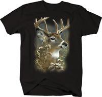 Big Buck Deer Looking Into Forest Deer Wildlife Nature Hunting T-shirt
