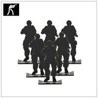 Pack Of 6 Freestanding Steel Soldier Airgun Shooting Targets Heavy Duty 10cm New