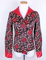 Chinese Vintage Womens 100% Silk Xing Ao Red Blouse Jacket Size L Fits Small