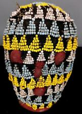 Vintage tribal raro bamileke con cuentas cabeza figura --- Camerún BN 27