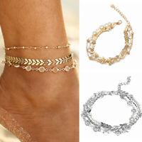3pcs/Set Multilayer Anklets Women Crystal Anklet Beach Bracelet Foot Jewelry