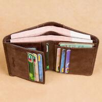 100% Genuine Leather Men's Trifold Wallet RFID Blocking Credit Card Holder Retro