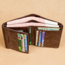 100% Genuine Leather Men's Trifold Wallet RFID Blocking Credit Card Holder Retro