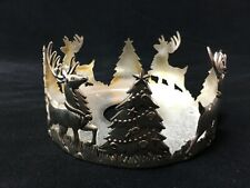 International Silver Co. Holiday Reindeer  Silver Plate Pillar Candle Holder