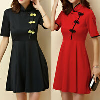 Women Ladies Oriental Style Flag Dress Short Sleeve Size 8 10 12 14 16 18 #0599