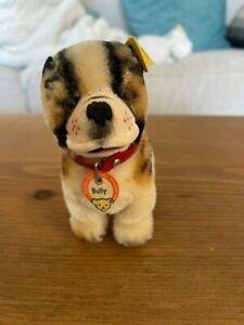 Steiff Bully Bulldog Dog Mohair Plush 10cm 4in 1960s BOTH original TAGS