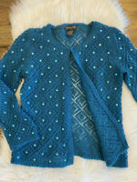 Banana Republic womens Sweater Sz Small Wool Blend teal Sequin Cardigan