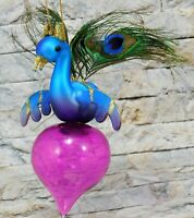 "PEACOCK Christmas Tree Ornament 8"" Glass Teal w/ Onion Feathers Winward Holidays"