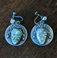 Vintage TAXCO Mexico 925 Sterling Silver Carved Abalone Face Screw-On Earrings