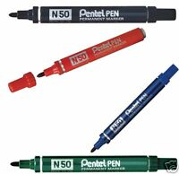 Pentel N50 Permanent Marker Bullet Point Felt Tip Pen - choose your colour