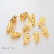 50 x Gold Tone Bead Cones Flower -  Filigree 10 x 16mm Bead Caps Iron Daisy Cap