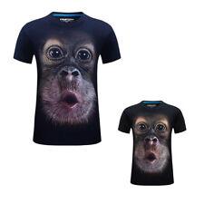 3D Gorilla Monkey Funny Printed Tee Cotton Mens T-Shirts Short Sleeve Top Shirt