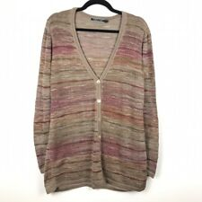 Peruvian Connection Brown Pima Cotton Cardigan Sweater Womens Size Large
