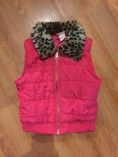 Circo Small (6/6X) Girls Puffer Vest With Cheetah Collar (faux Fur)