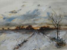 Winterlandschaft - Aquarell, 64 cm x 54 cm mit Rahmen