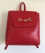 New! brandy melville red faux leather backpack with gold cucci hooks NWT