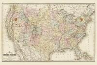 United States of America 1867 Antique Style Map Mural Poster 36x54 inch
